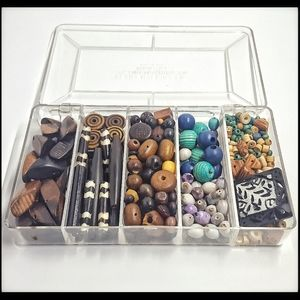 Lot of African natural wood beads & organizer box